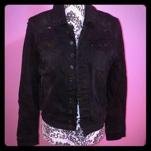 Black Distressed Jean Jacket Medium